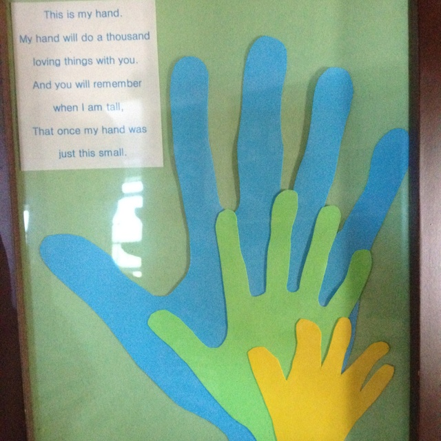 Fathers Day gift for Grandpa using daddy  kids handprints- 2012
