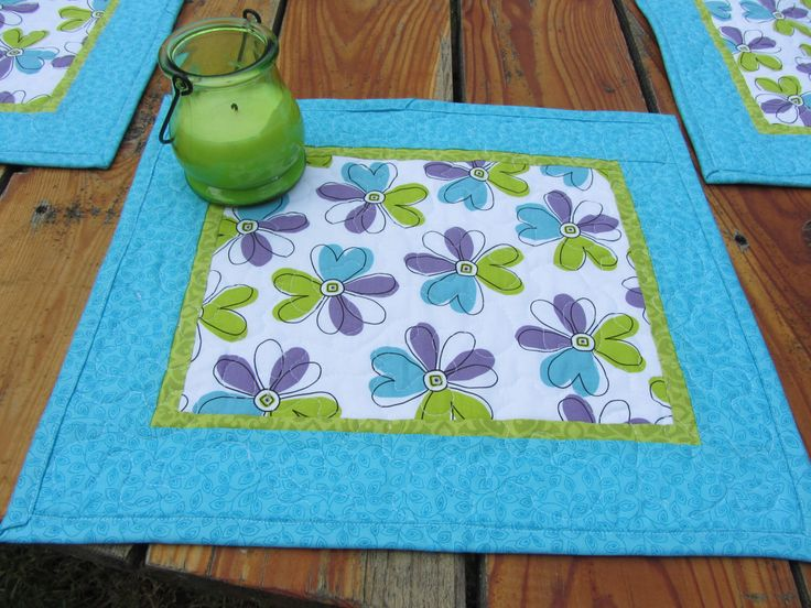 Quilted Modern Floral Placemats , Turquoise Green Purple Placemats , Summer Floral Place Mats , Set of 4 Placemats by PatsPassionQuilteds on Etsy https://www.etsy.com/listing/237045615/quilted-modern-floral-placemats