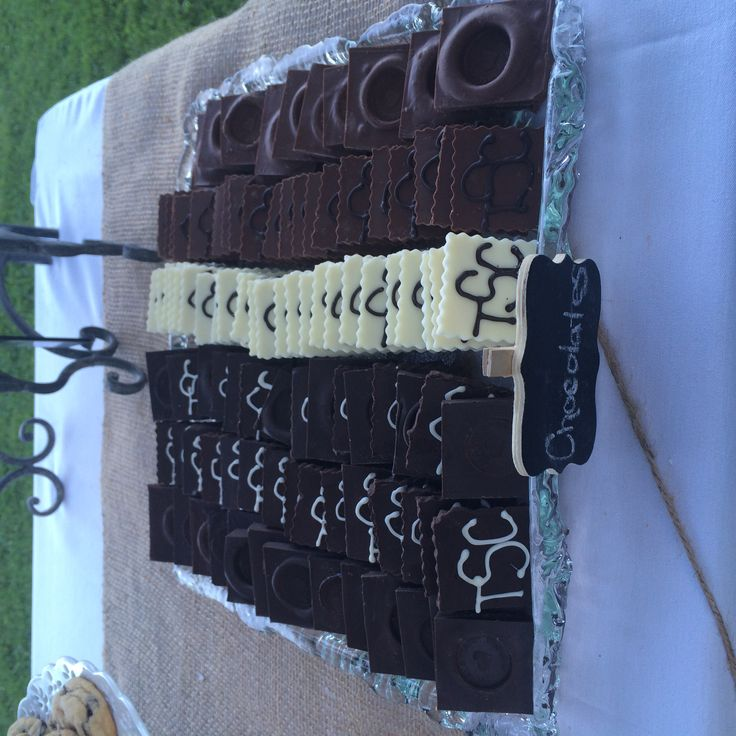 Chocolates for s'mores bar - some stamped and some with monogram