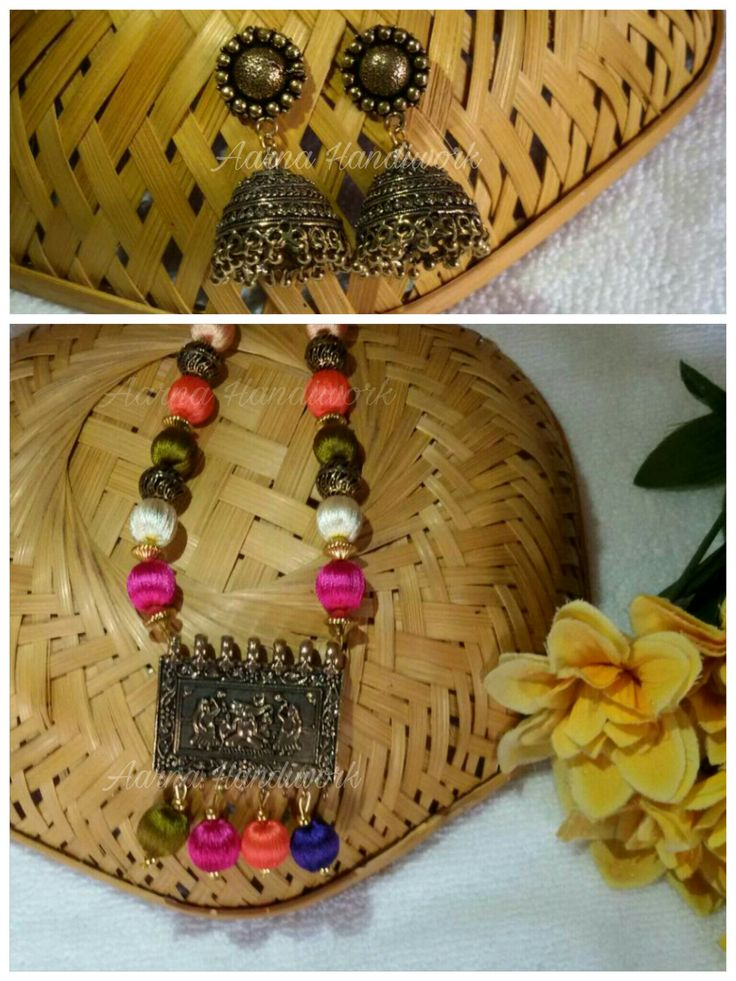 Antique Gold  Pendant with multicolor beads Set
