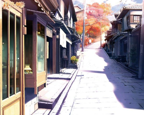 ✮ ANIME ART ✮ city street. . .store fronts. . .buildings. . .architecture. . .perspective. . .trees. . .autumn leaves. . .amazing detail. . .anime scenery. . .kawaii