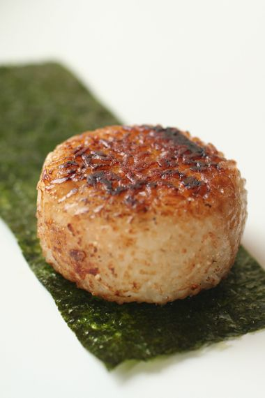 Japanese Grilled Rice Ball with Flaked Scallop, Soy Sauce, and Butter