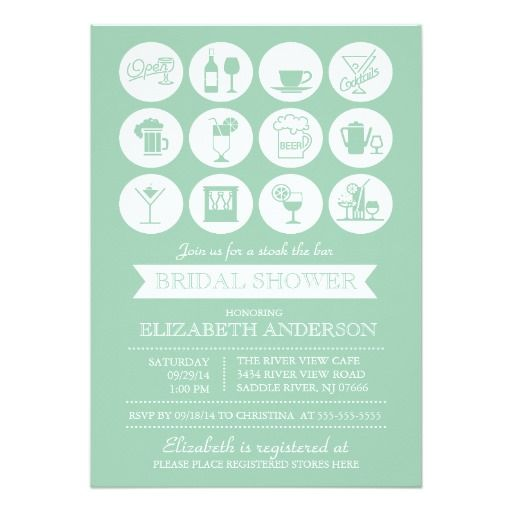 Retro Green Stock The Bar Bridal Shower Invitation