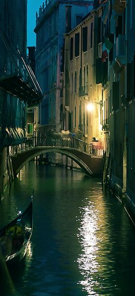 Evening on a quiet canal in Venice...Venice may be packed with tourists, but you can get away from the crowds and enjoy the quieter neighborhoods. There's no place more romantic.