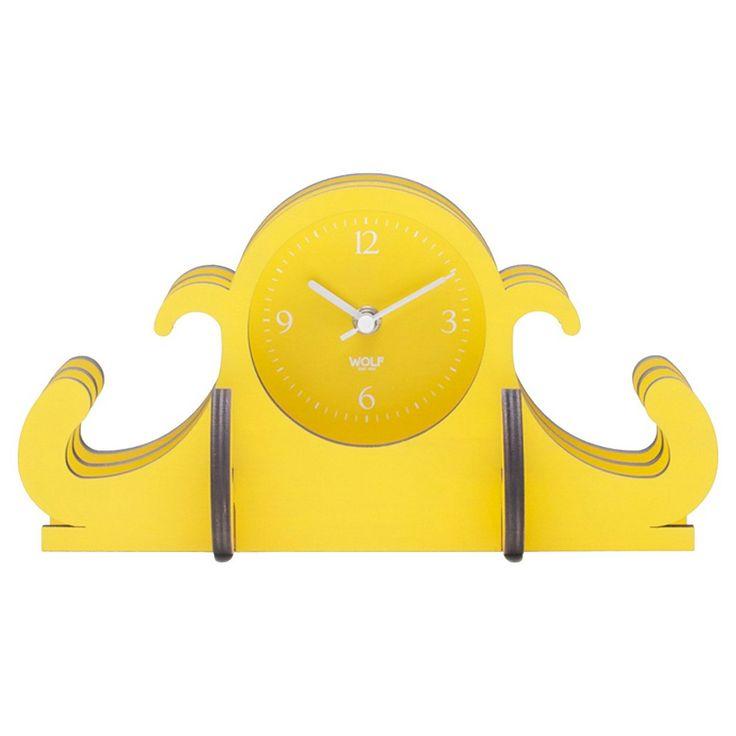 Wolf Jigsaw Mantel Table Clock - Yellow