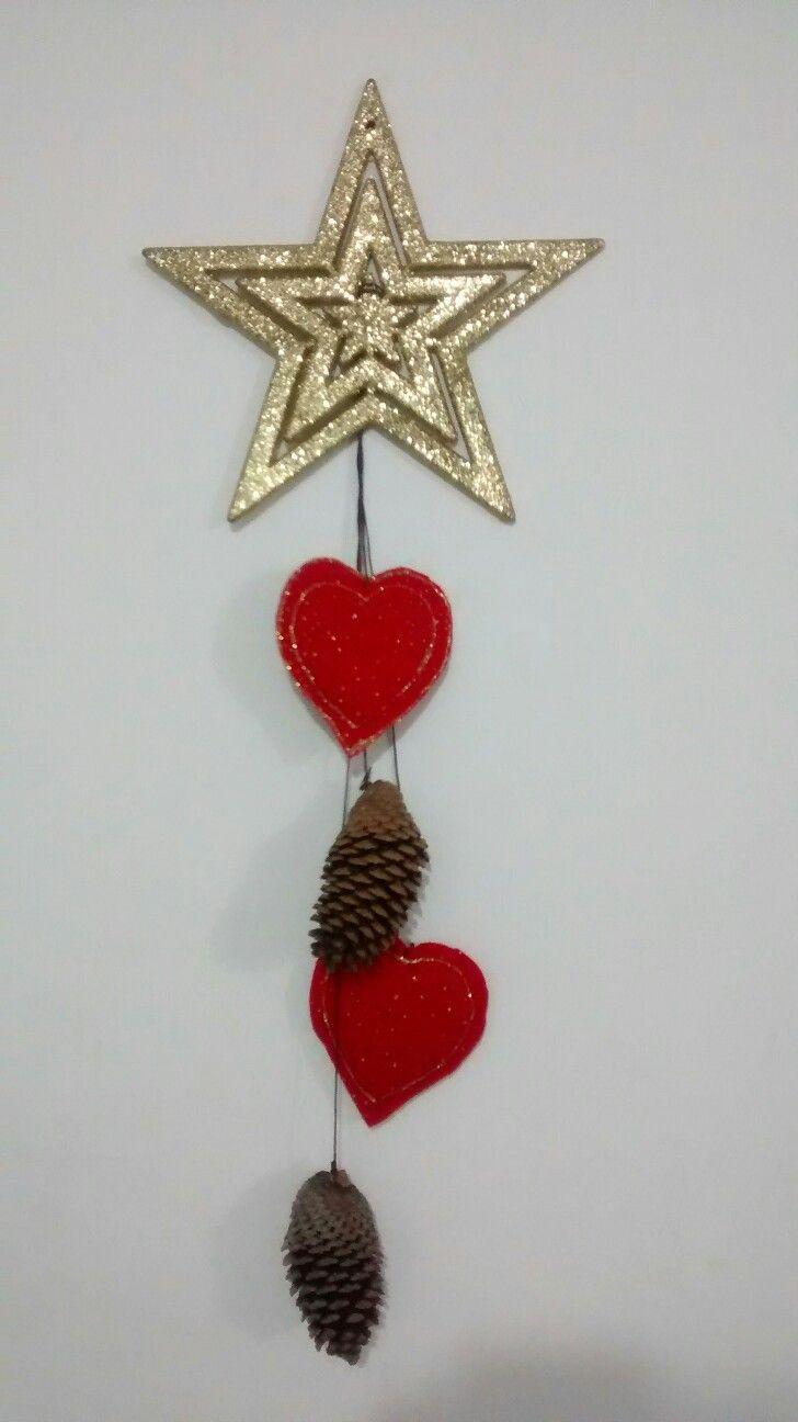 Navidad, puertas, estrella, corazones, rojo y dorado, DIY, manualidades.