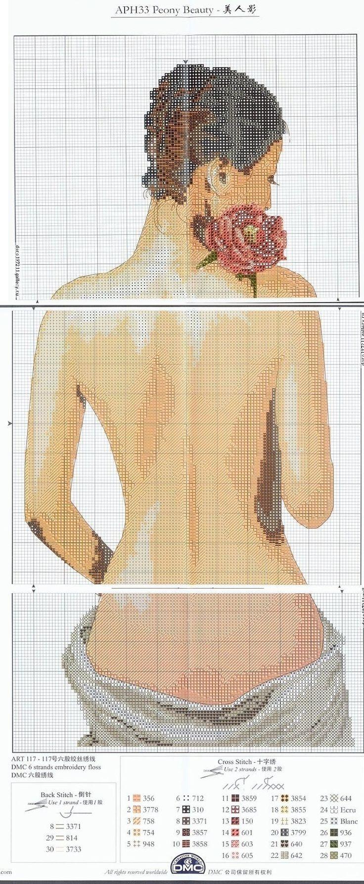 0 point de croix femme à son bain - cross stitch lady at her bath