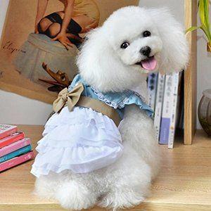 Una pieza Perro Gato Ropa de gato Vestido de mezclilla Vestido Bowknot Moda linda Moe Collar plegable Mullido Salir Caminar Fiesta Disparar Presente   – Products