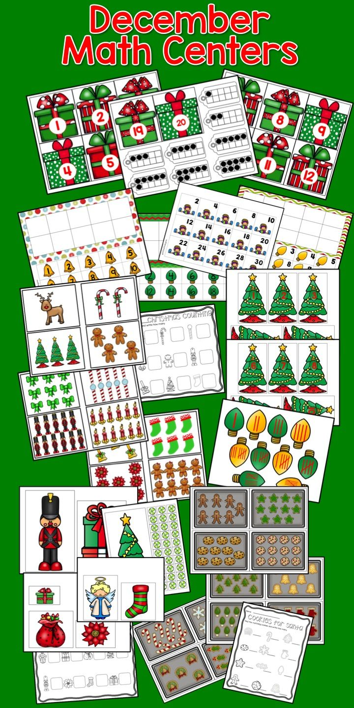 December Math Centers for Kindergarten 6 Centers.  Have some fun while mastering the CCSS for Math KCC4 KCC4a, KCC4b