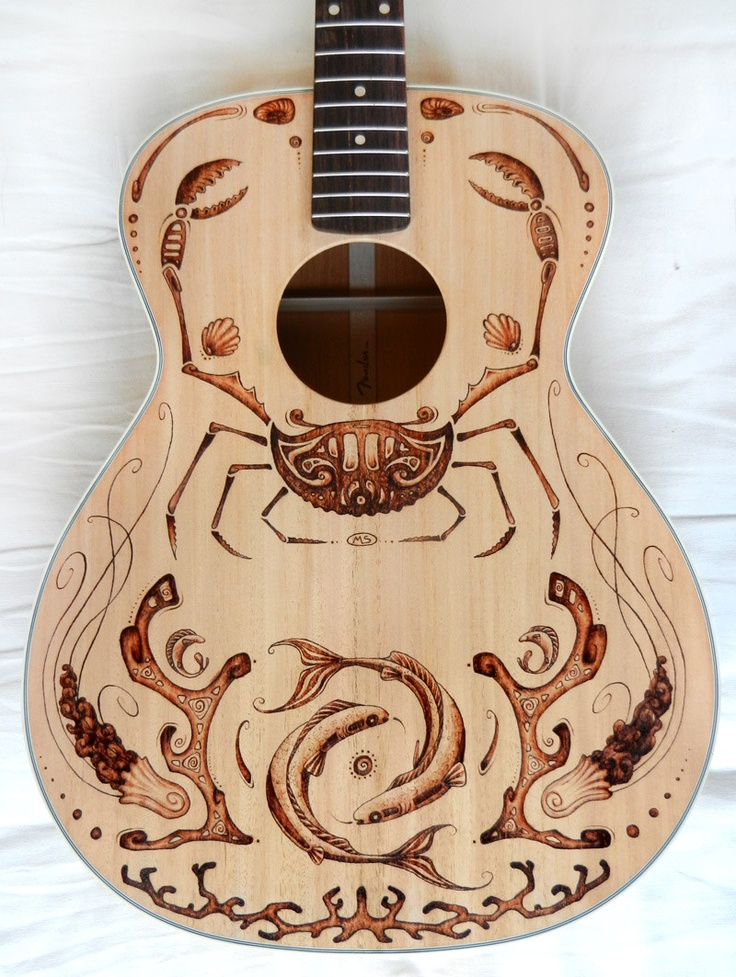 woodburned guitar @Jessy '-' Bush   I would love to do this to a guitar for you. Not that exact pattern, but woodburn it.