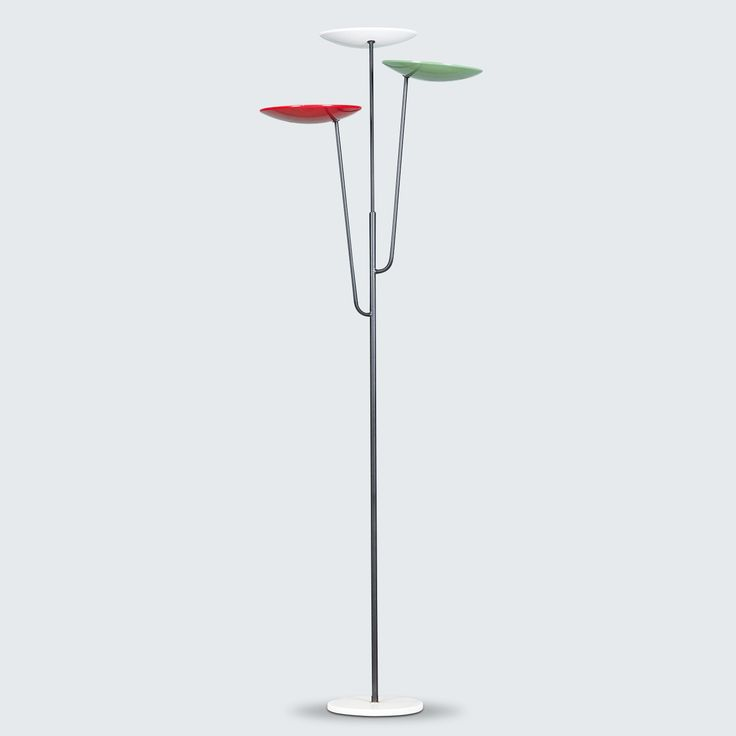 DUTCH FLOOR LAMP WITH MULTI-COLOURED DISH SHADES IN THE STYLE OF STILNOVO, 1950S line In the style of Stilnovo, this 1950s floor lamp features a white marble base, brass detailing and slender stand which branches into three separate stands. With three multi-coloured, shallow dish-shaped lamp shades, the light is projected beautifully, while keeping a modern and semi-industrial presence.