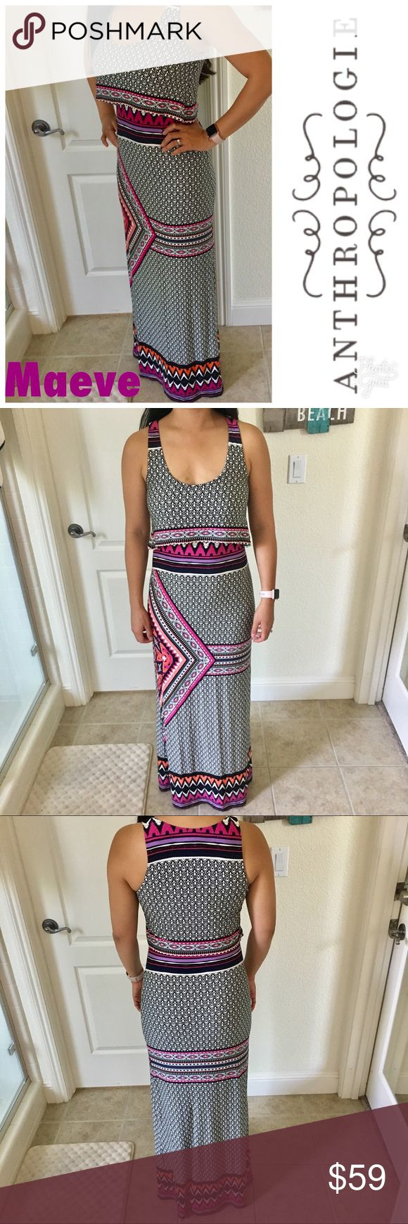 """Maeve for Anthro Tiered Aztec Tribal Maxi Dress XS Maeve for Anthro Tiered Top with Aztec Tribal print Maxi Dress in size XS. Fits a size 2 or 4. Measures 57"""" length. Features pops of pink and purple throughout the dress. Made of 95% rayon and 5% spandex. Stretchy. Smoke free and pet free home. No trades or modeling. Bundle to save. Offers welcome! Fast shipping. Anthropologie Dresses Maxi"""