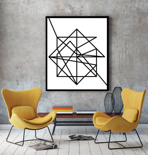 Wire modern wall art - black & white abstract minimalist geometric poster. Ideal for decorating your living room or office.  An original art work by