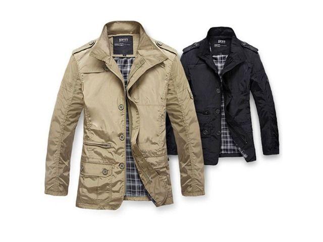 Men Trench Coat Mens casual winter jacket
