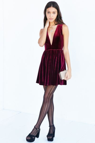 Lucca Couture Plunging Velvet Mini Dress - Urban Outfitters