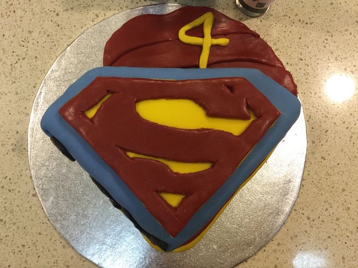 A very simple superman cake with dark chocolate cake inside
