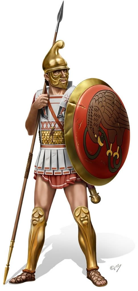 Great example of an Hellenistic Hoplite. The south of Italy followed Greek fashion intently and used Greek military tactics. The phalanx and other similar tactics were used continually and may have been a contributing factor to Hellenistic decline in Italy. After the savage wars with Rome Hellenistic style was considered obsolete.
