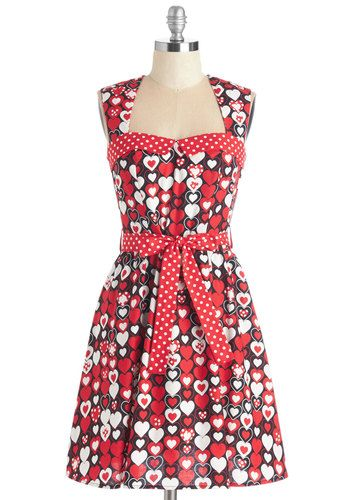 Sweet Your Heart Out Dress - Red, Black, Novelty Print, Print, Valentine's, Rockabilly, 50s, 60s, A-line, Sleeveless, Woven, Cotton, Party, Mid-length
