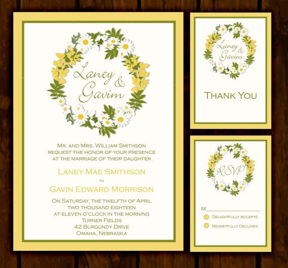 Yellow Daisy Wedding Invitation Suite Print At Home Wedding