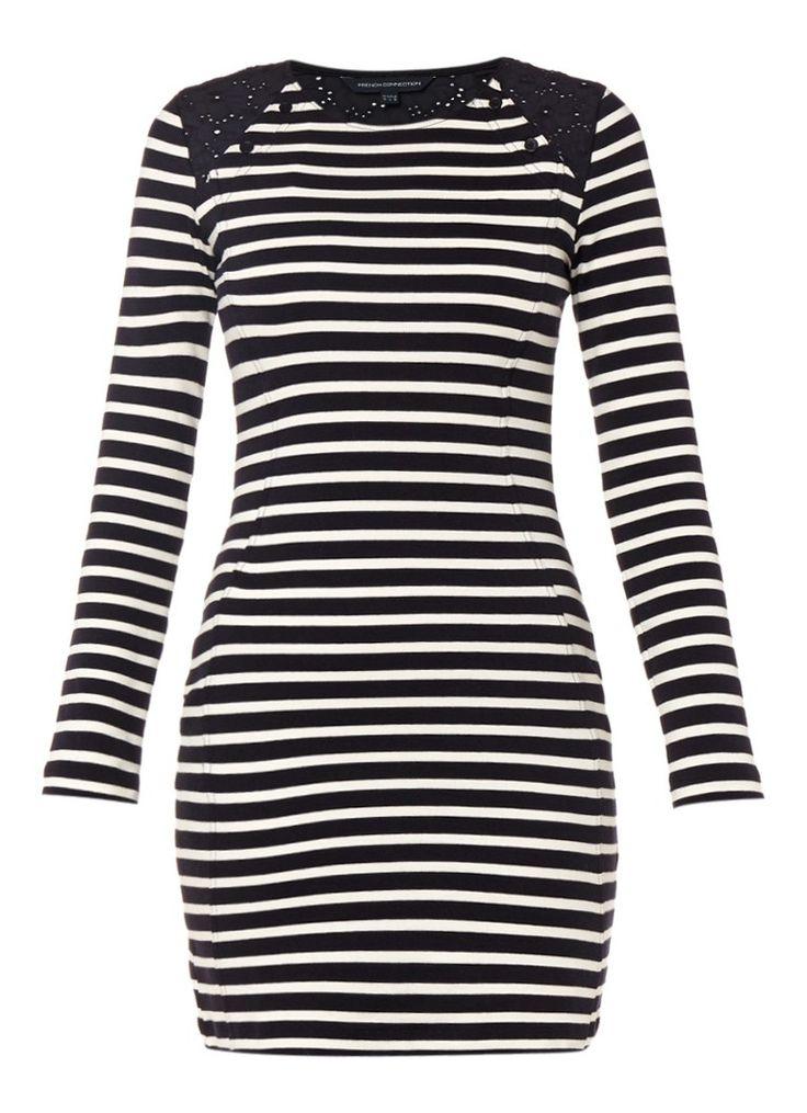 Basic French Connection Annie jurk van jersey met streepdessin • de Bijenkorf