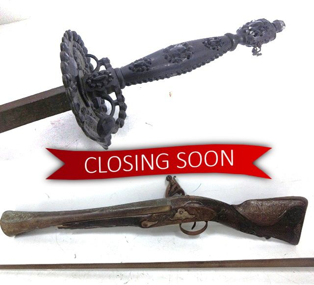 CLOSING SOON! Bid now on this antique embellished handle sword and blunderbuss gun before this auction ends at 7:00 pm TONIGHT ⏳