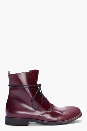 Marsell Burgundy Patent Marsellina Boots for Men   SSENSE