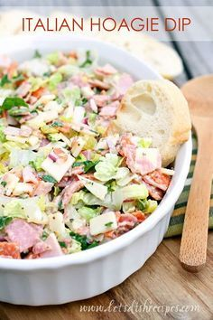 Italian Hoagie Dip Recipe | All your favorite sub sandwich fixings in a delicious and easy to eat dip. Such a fun appetizer!