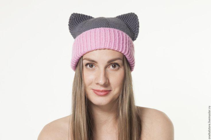 Купить Серая теплая вязаная шапка с кошачьими ушками для женщин и девушек - вязаная шапка