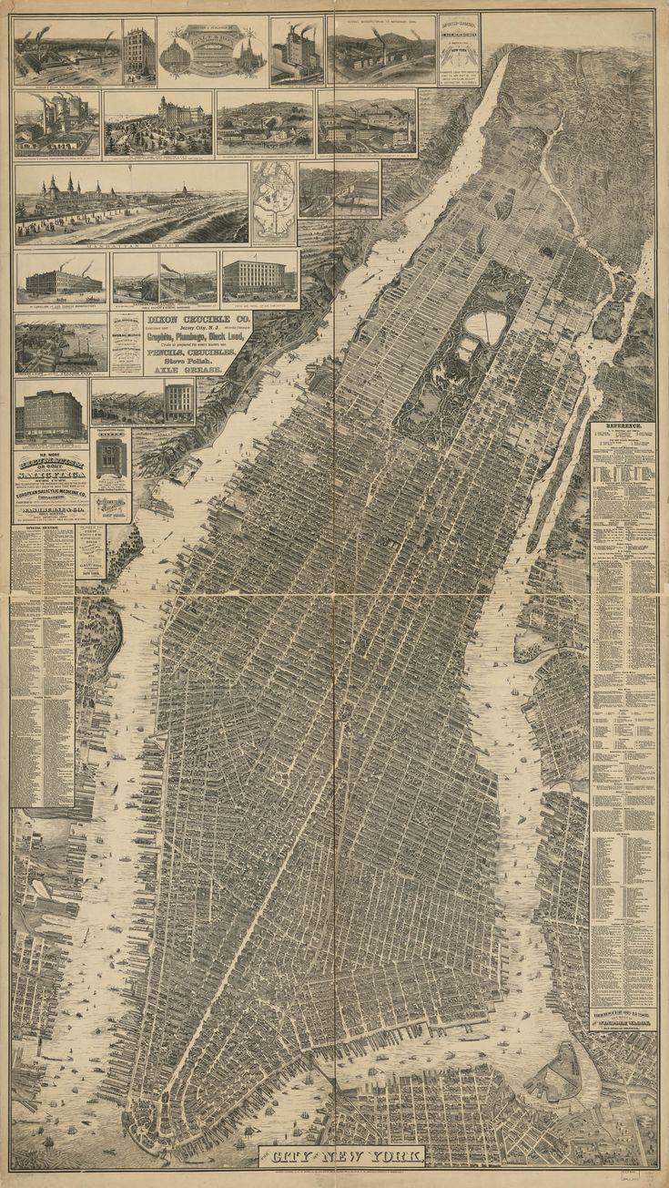 """This remarkable map, a bird's-eye perspective view of New York City, was created by Will L. Taylor  (""""chief draftsman"""") published by Galt & Hoy of New York in 1879.  There is a great attempt at representing (all?) buildings in accurate detail, though the Library of Congress notes that the map is not necessarily drawn to scale. The very issue of what seems to be an attempt to show the footprints and perhaps even the elevations of all structures in the city is incredible."""