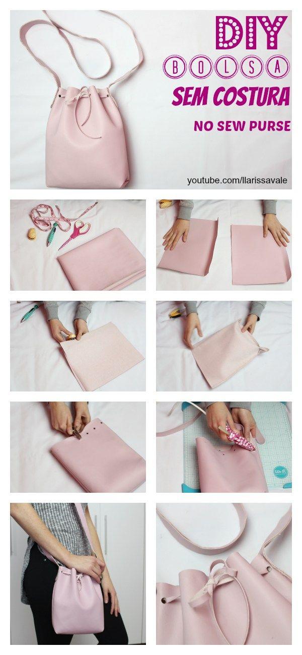 DIY Bucked Bag Bolsa Saco Sem Costura No Sew Como Fazer How To