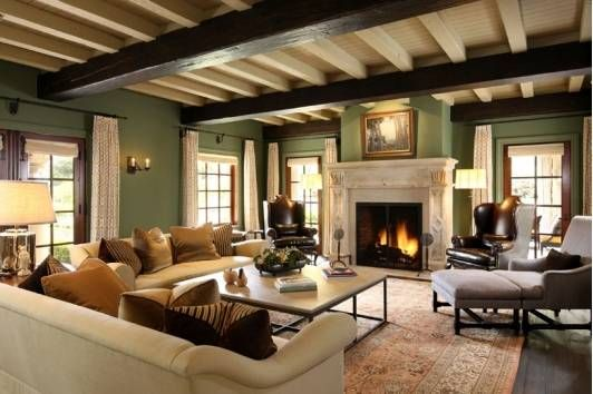 Living room idea- i like the colour scheme and the beams on the ceiling!