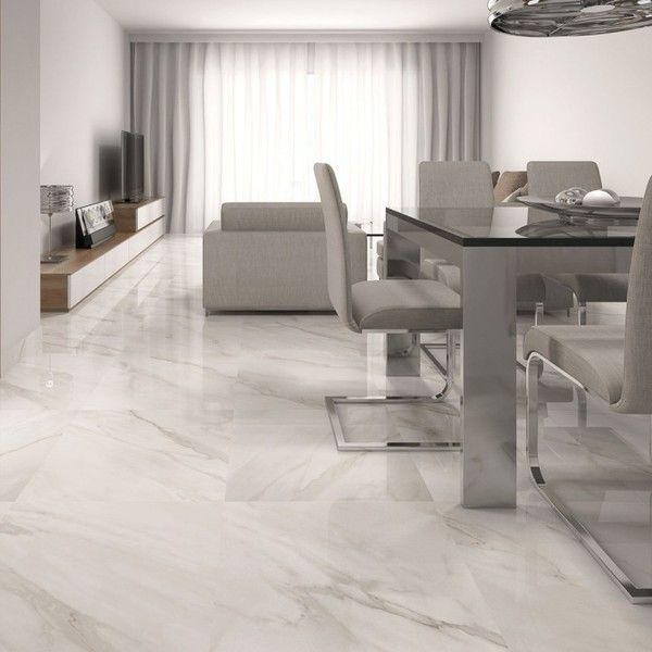Calacatta White Gloss Floor Tiles - Beige Design