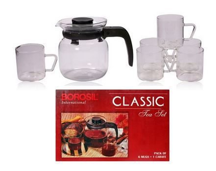 #‎Borosil‬ Classic ‪#‎Tea‬ Set @ Rs. 635 only.  Buy this classic tea set at the best price, perfect for your daily use. It is 100% ‪#‎flame‬ proof and hot plate proof Product. Buy today!