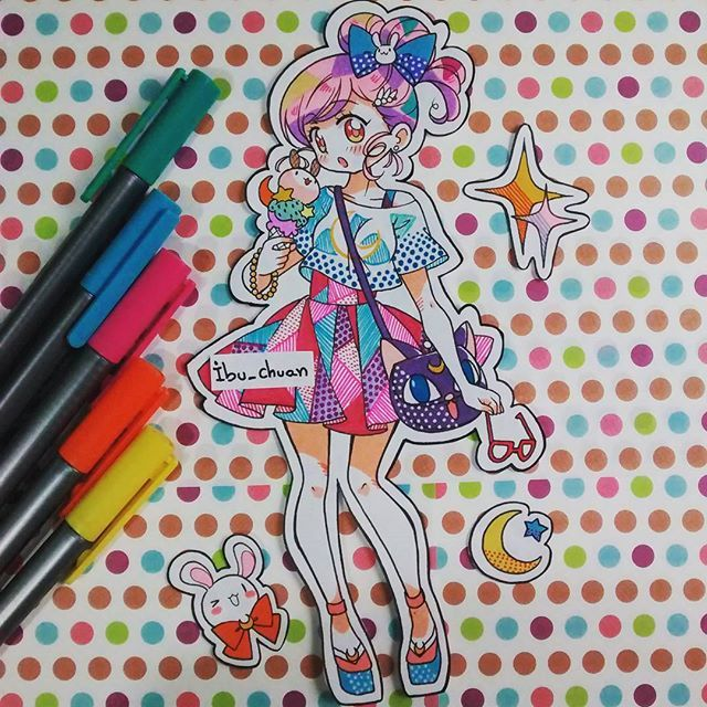 "Ropita inspirada en sailor moon ^•^) ""Painted with staedtler pen and bic marking"" #sailormoon #icecream #usagi #lunapelota #stars #traditional #staedtlerpens #bicmarking #instaanime #instadraw"