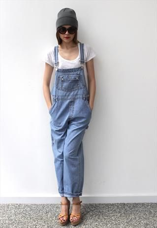 Vintage 1980's Light Blue Long Denim Dungarees