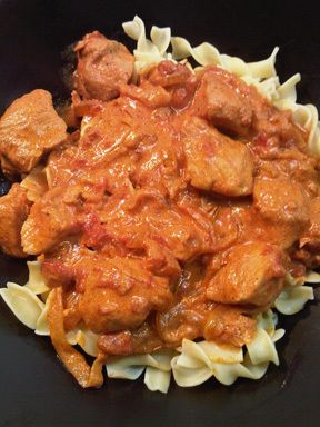 Chicken Paprikash (Hungarian Comfort Food)- sub coconut milk for sour cream and sub mashed potatoes for noodles.