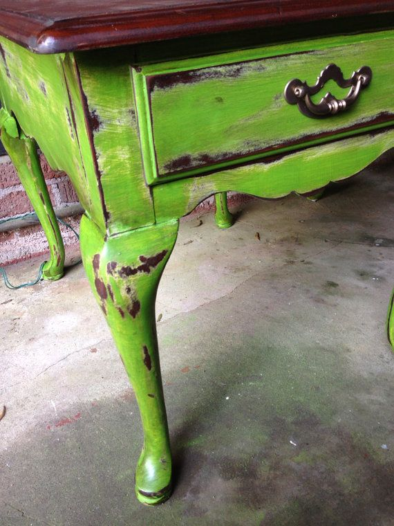 Antique Green shabby chic End-tables. Chalk painted distressed hammered top stained and waxed. on Etsy, $250.00