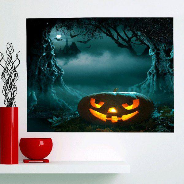 Halloween Cave Pumpkin Moon Night Wall Art Painting - Deep Green - 1pc:39*39 Inch( No Frame )