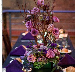 purple roses: Branches Centerpieces, Branch Centerpieces, Rose Branches, Pretty Centerpieces, Purple Rose, Trees Branches, Flowers Shops, Trees Centerpieces, Center Pieces
