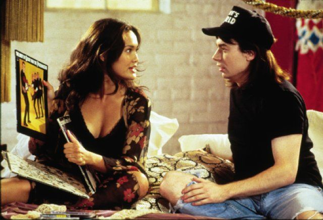 """Wayne Campbell (Mike Myers) to Cassandra Wong (Tia Carrere): """"Exqueese me? Have I seen this one before? 'Frampton Comes Alive'? Everybody in the world has 'Frampton Comes Alive'. If you lived in the suburbs, you were issued it. It came in the mail with samples of 'Tide'."""" -- from Wayne's World 2 (1993) directed by Stephen Surjik"""
