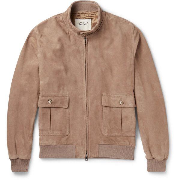 Valstar Valstarino Suede Bomber Jacket ($1,095) ❤ liked on Polyvore featuring men's fashion, men's clothing, men's outerwear, men's jackets, mens suede leather jacket, mens suede bomber jacket and mens suede jacket