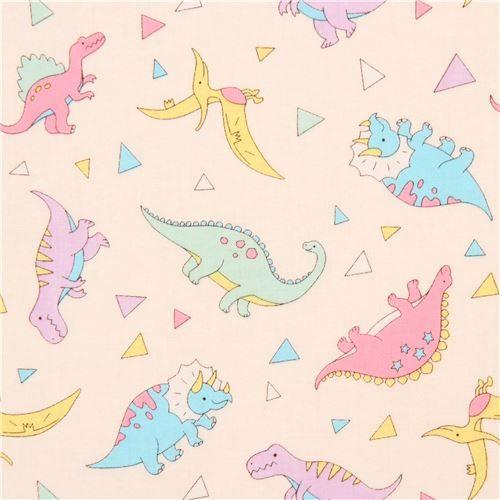 light cream fabric colorful dinosaur triangle from Japan 1