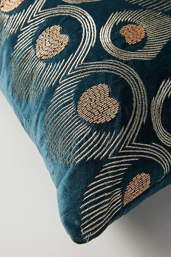Teal Velvet Beaded Peacock Pillow