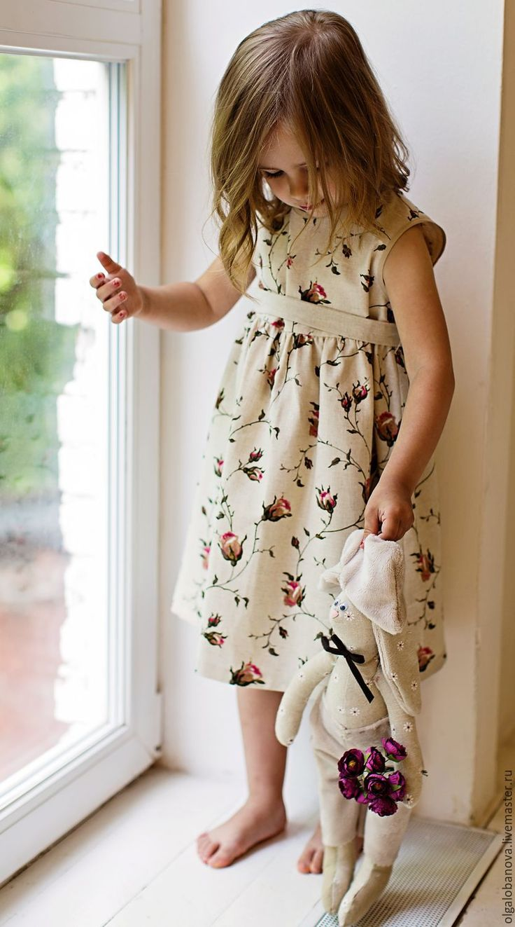 Cotton + linen dress with flower print