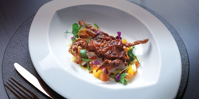 Atul Kochhar's crispy soft shell crab with fresh mango salsa recipe from P & O Cruises