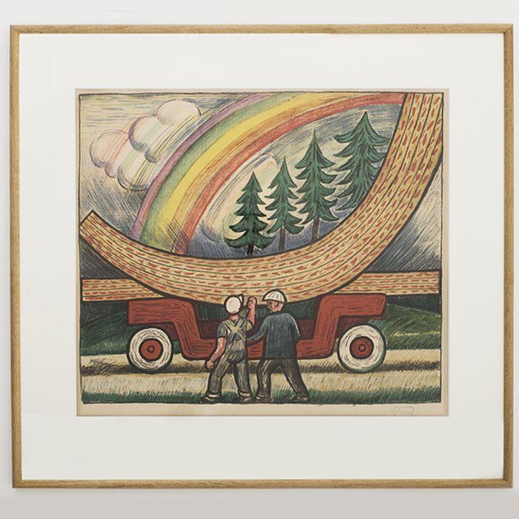 """Litografi """"Tømmerbilen"""""""