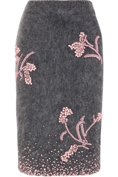 Prada | Embellished mohair-blend pencil skirt | NET-A-PORTER.COM