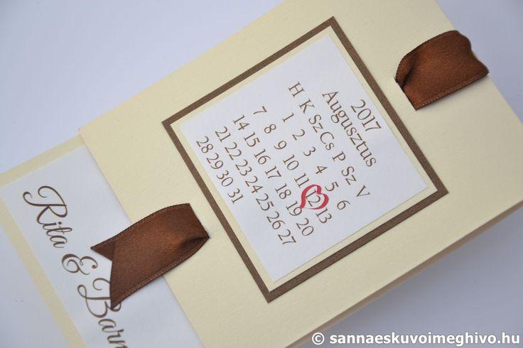 Krém csokoládé 3 esküvői meghívó, meghívó, barna esküvői meghívó, szalagos esküvői meghívó, sannaeskuvoimeghivo, egyedi esküvői meghívó, wedding card