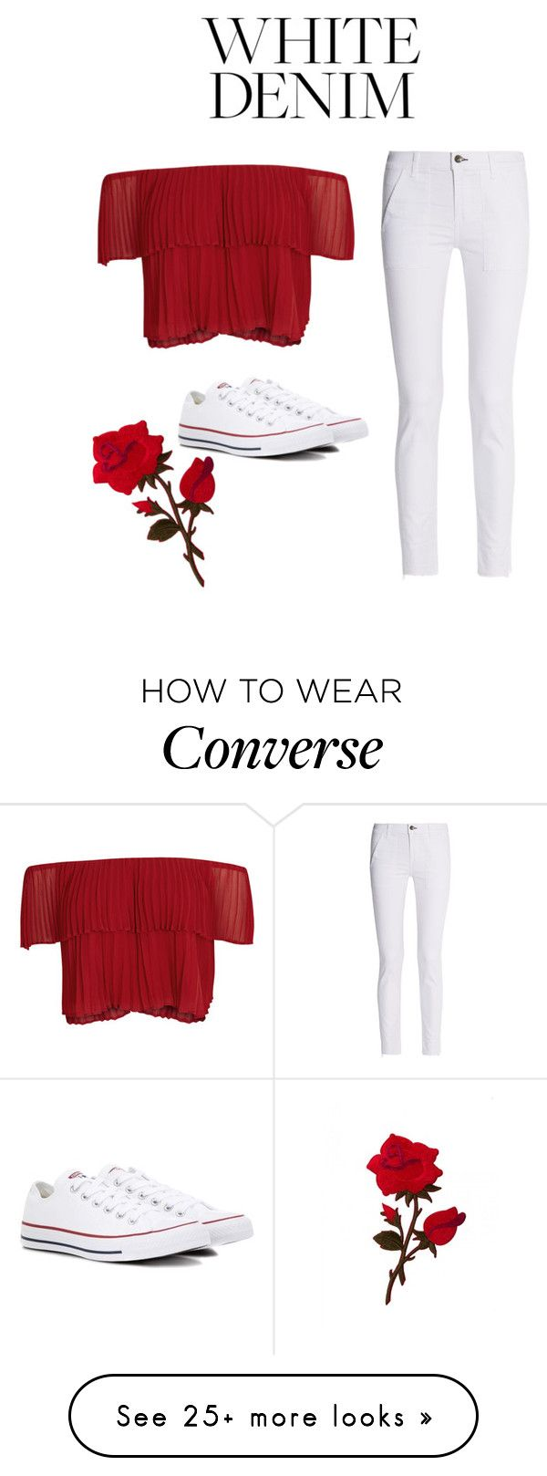 """""""White Denim ⚘"""" by talkcarly on Polyvore featuring rag & bone, Keepsake the Label and Converse"""