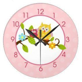 Round wall décor is not only beautiful but trendy. In fact, whether it be a chic round wall  clock, or piece of round metal wall art or even a round mirror wall art, you  will appreciate the variety of materials available that round wall art comes  in.       Happy Tree Owls Round Large Wall Clock (Pink)